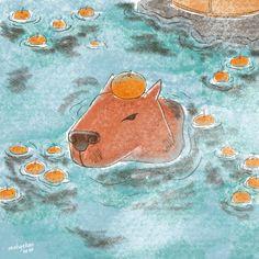 Frog Art, Funky Art, New Theme, Guinea Pigs, Cute Drawings, Digital Illustration, Art Inspo, Line Art, Cute Animals