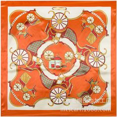 f1f577b8ae44b Classic Orange Carriage Pattern Of Maitong Silk Scarf Silk Satin Scarf For  Ladies In Spring Cheap