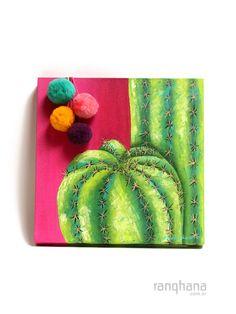 CUADRO CACTUS CON POMPONES Cactus Decor, Cactus Art, Cactus Flower, Cactus Painting, Painting & Drawing, Painting Inspiration, Art Inspo, Deco Paint, Kids Room Paint