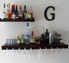 "Wall bar to save space. Would love to do something like this with Ikea shelves and my ""R"" cork holder. Wall Bar Shelf, Bar Shelves, Ikea Shelves, Shelving, Bookshelf Bar, Bandeja Bar, Bar Sala, Bar Areas, Bars For Home"