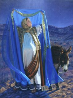 Mary Kept these Things and Pondered Them in Her Heart, Lonni Clarke:  A painting of Mary, mother of Jesus, viewing the Star of Bethlehem on the night of the nativity (Luke 2:19).