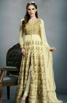 Cream & Gold Designer Heavy Anarkali Suit