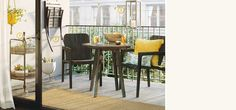 Shop Target for bistro sets & small-space patio furniture for upgraded outdoor living. I love the small bar cart! Small Outdoor Spaces, Small Patio, Furniture For Small Spaces, Bistro Chairs, Patio Chairs, Wood Patio, Diy Patio, Patio Ideas, Garden Ideas