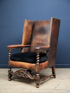 Leather Wing Back Open Armchair Antique Chairs u0026 Armchairs Drew Pritchard & 46 best Drew Pritchard :D images on Pinterest | Antique chairs ...