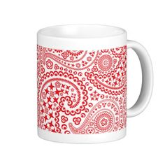 Red and White Paisley Pattern Mugs