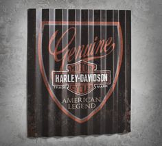 Our worn and weathered corrugated aluminum sign is a masterpiece worthy to hang in your garage, shed, basement, and any other sacred space. | Harley-Davidson American Legend Aluminum Sign