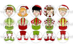 Build An Elf Ornament Set 2 Bottle Cap Images 4x6 Printable Bottlecap Collage