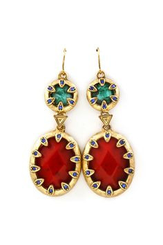 Arice Earrings in Wine on Emerald on Emma Stine Limited