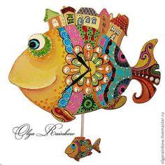 """Часы для дома ручной работы. Ярмарка Мастеров - ручная работа. Купить Часы с маятником """"Чудо-рыбы"""". Handmade. Яркая рыба Fish Wall Art, Fish Art, Tole Painting, Ceramic Painting, Adara Sanchez Anguiano, River House Decor, Fish Coloring Page, Arte Country, Wood Fish"""