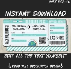 Lottery Tickets, Airline Tickets, Boarding Pass Template, Destinations, Happy 30th Birthday, Retirement Parties, Easy, Travel Gifts, Text You