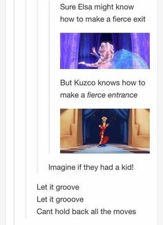 Elsa and Kuzco would have the sassiest child. | 17 Disney Posts That'll Make You Realize Some Shit