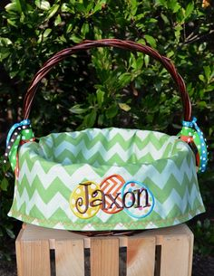 Personalized lined Easter Basket for Girls by sunshinedaydream4u, $25.95 Put all the baby items in a personalized basket