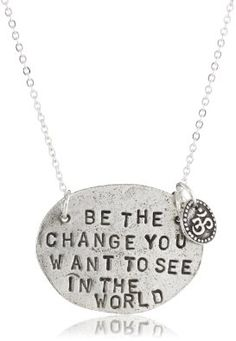 """Amazon.com: Alisa Michelle """"Words To Live By"""" Sterling Silver Plated Be The Change Stamp Charm Necklace: Jewelry"""