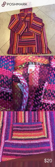 Authentic Mexican Poncho Mexican Poncho made and got from Mexico. Super cute and warm inside! Bright colors, in perfect condition! Never worn Earthbound Jackets & Coats