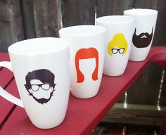 Your place to buy and sell all things handmade Personalized Mugs, Facial Hair, Beards, Coffee Mugs, Faces, Glasses, Unique Jewelry, Tableware, Handmade Gifts
