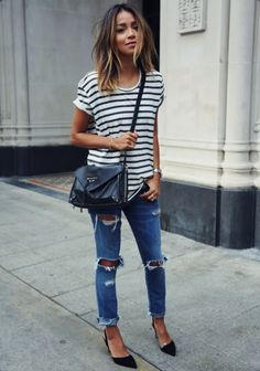 sincerely jules. striped tee, ripped boyfriend jeans and crossbody bag