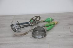 Vintage Kitchen Gadgets Tools Set with Green Wood by sugarSCOUT, $18.00