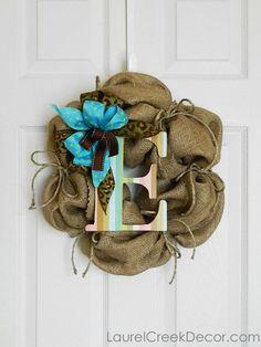 Monogram Burlap Wreath with Bow. ADORABLE!