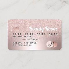 Credit card rose gold metallic glitter beauty