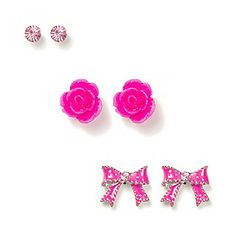 Crystal, Carved Rose and Polka Dot Bow Stud Earrings Set of 3. Claires store. Soo cute!