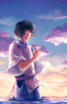 Spirited Away - Haku Hayao Miyazaki, Spirited Away Haku, Studio Ghibli Characters, Chihiro Y Haku, Studio Ghibli Spirited Away, Studio Ghibli Art, Ghibli Movies, Art Japonais, Japanese Cartoon