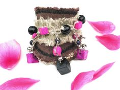 Linen frayed cuff  Natural Unique fashion cuff textile bracelet Wooden beads and bells sound , fuchsia, pink, black, natural gray brown