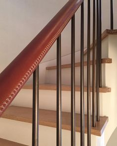 CZA Hand-stitched Leather Handrail for @stevenharrisarchitects #reeseoberts   A dream West Village townhouse. Wraps masterfully up 5 fights to a rooftop oasis