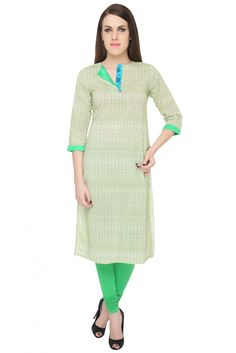 Cotton Cambric Straight Kurti in Green Colour This Casual Wear Kurti is Designed with Round slit fold Neck and 3/4 Sleeves...