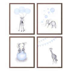 Animal Nursery Decor Safari Nursery Art Baby Boy by TheDaisyFields