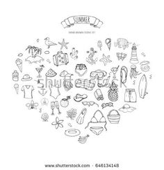 674338647048b Hand drawn doodle summer set icons. Vector illustration Sketchy vacation  elements collection. Isolated objects