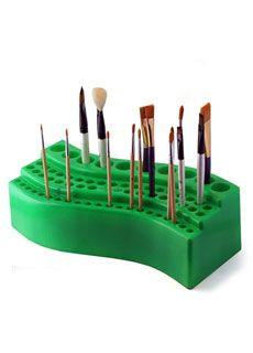 Think Art Wave Paint Brush Holder, Green