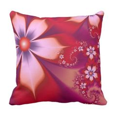 Red Flowers Throw Pillow - flower gifts floral flowers diy