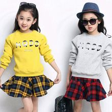 Girls Christmas Letter Print Fleece And Plaid Skirt Clothes Set Girl Vintage Cotton 2Pcs Set Halloween Girls Cotton Clothing Set(China (Mainland))
