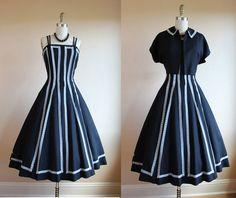 0eba4e21af1 1950s Dress - Vintage 50s Dress - Black White Linen Party Dress and Bolero  M - Cirque