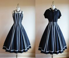 1950s Dress  Vintage 50s Dress  Black White Linen by jumblelaya, $248.00