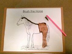 Preschool Farm Animals Theme: Brush the Horse art activity