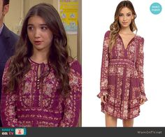 2a081a5c7d6 Riley s purple floral long sleeve dress on Girl Meets World