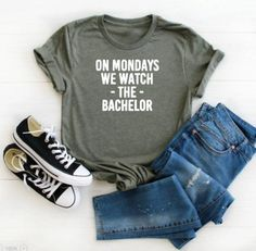 On Mondays we watch the bachelor tshirts are perfect for your Bachelor Watching Parties! These shirts are unisex sized and super soft material. The design is created with a professional grade heat transfer vinyl. Simple Shirts, Cool Shirts, Creative Shirts, The Bachelor Tv Show, Photo Boots, We Watch, Shirt Mockup, Direct To Garment Printer, Fashion Photo