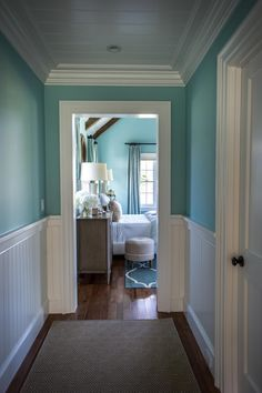 Housekaboodle - HGTV Dream Home 2015 hallway - home decorating ideas for our hal. Housekaboodle - HGTV Dream Home 2015 hallway - home decorating ideas for our hallway White Wainscoting, House Design, House, Home, Wainscoting Bedroom, Relaxing Master Bedroom, Luxury Homes, Luxury Interior Design, Blue Hallway