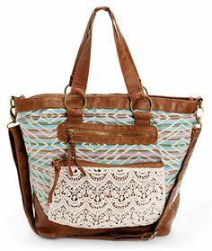 T-Shirt & Jeans Tribal Crochet & Cognac Faux Leather Tote Bag