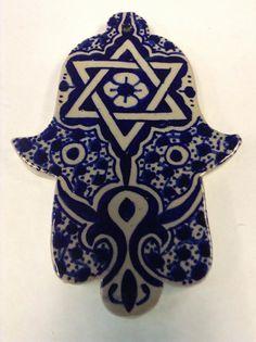 Moroccan Khamsa Hand Lucky Amulet Ceramic Tile Hang Wall Decor Hand painted star of David
