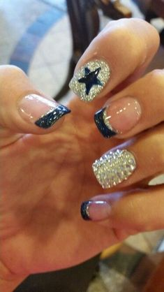 Dallas Cowboys nails I could try for Suzzie! Dallas Cowboys Nail Designs, Dallas Cowboys Nails, Dallas Cowboys Wedding, Football Nails, Dallas Cowboys Baby, Dallas Cowboys Crafts, Love Nails, How To Do Nails, Pretty Nails