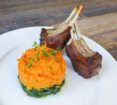 Herb-Marinated Lamb Rib Chops w/Sautéed Spinach, Sweet Potato Mash, & Rosemary-Pinot Drizzle | Honey Ghee and Me