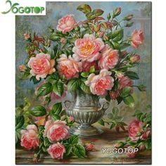 Diamant Broderie Rose roses Diamant Mosaïque Diy Diamant Peinture Point De Croix Carré Strass Collé Artisanat Couture XC393