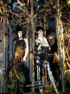 "A Bergdorf Goodman window display presenting selections from the archives of Alexander McQueen in celebration of the opening of ""Alexander McQueen: Savage Beauty"" at The Costume Institute of the Metropolitan Museum of Art by Viridia"
