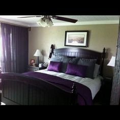 Purple and grey :) Our new bed decor from Ikea. My mom's gift to us for Christmas.