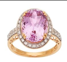 Curations NYC's Kunzite,& Champagne Diamond Ring, set in 18K Gold