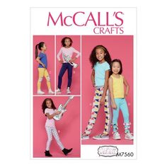 2366cdad96045 McCall's Sewing Pattern Children's/Girls' Leggings with Contrast Band and  Ruffle Det-7-8-10-12-14