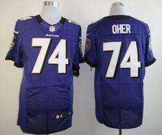 Nike Baltimore Ravens #74 Michael Oher Purple Elite Jersey