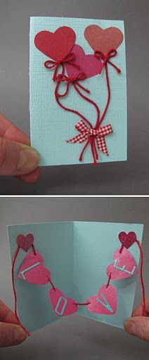 """From Martha Stewart """"How adorable is this DIY Valentine's Day card?"""", """"really great idea for a valentines card"""", """"Art And Craft Activities For Childr Mothers Day Crafts, Valentine Day Crafts, Holiday Crafts, Valentine Ideas, Diy And Crafts, Crafts For Kids, Paper Crafts, Handmade Crafts, Love Cards"""